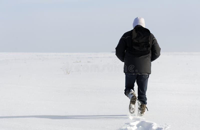 krajobrazowego mężczyzna chodząca zima zdjęcia royalty free