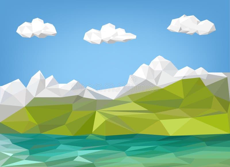 Krajobrazowej ilustraci - halna i jeziorna niska poli- grafika royalty ilustracja