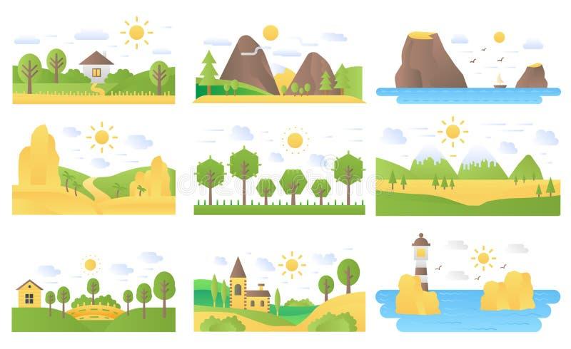 Krajobrazowej kreskówki pojęcia natury ikon ilustracji wektoru płaski set royalty ilustracja