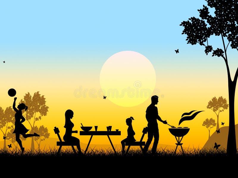Krajobrazowi sposoby Piec na grillu zmierzchu Mięsny I Barbecued ilustracja wektor