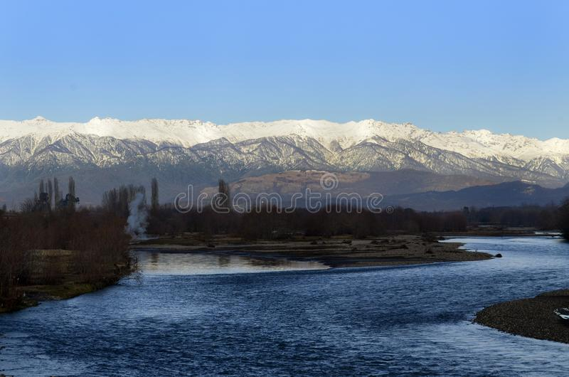 Krajobrazowy Abkhazia na Styczniu obrazy royalty free