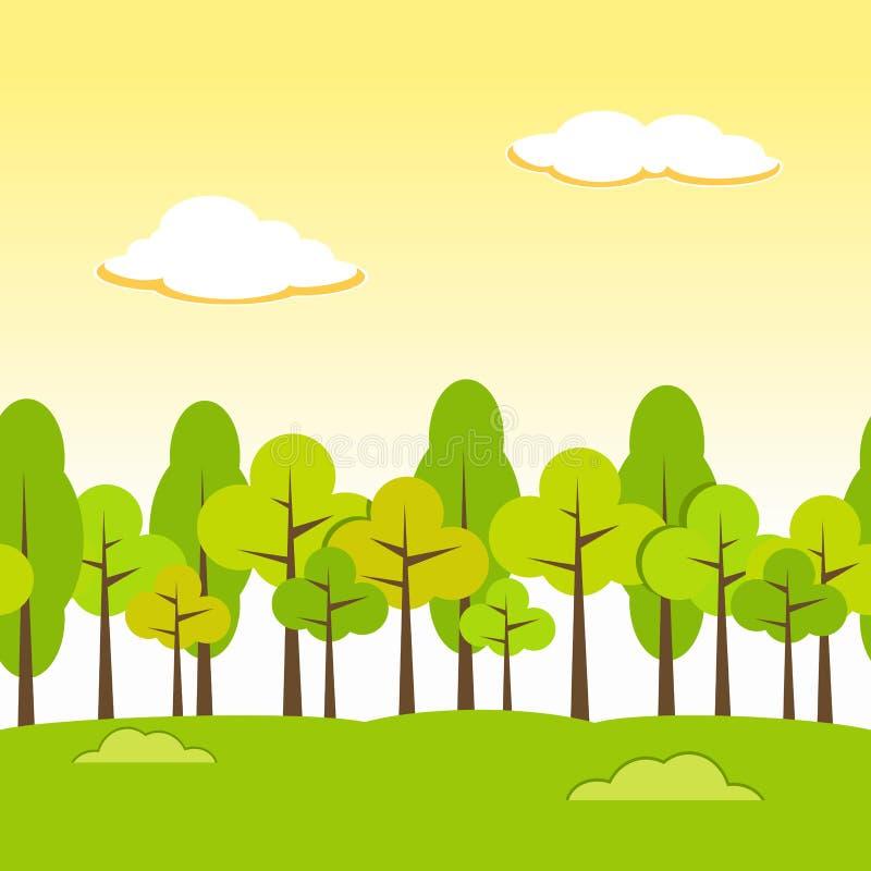 Krajobrazowy Bezszwowy tło Popołudniowy tło ilustracji