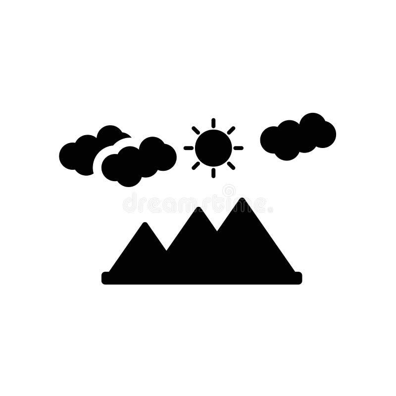 Krajobrazowy ikona wektor odizolowywający na białym tle, krajobrazu znak, ciemny piktogram ilustracja wektor