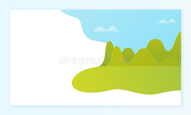 Krajobrazowy kawałek, drzewa i trawa, Dzika natura ilustracja wektor