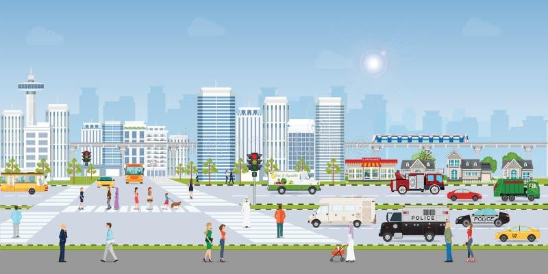 Krajobrazowy miasto z wielkimi nowożytnymi budynkami i transportem publicznym z pedestrians ilustracji