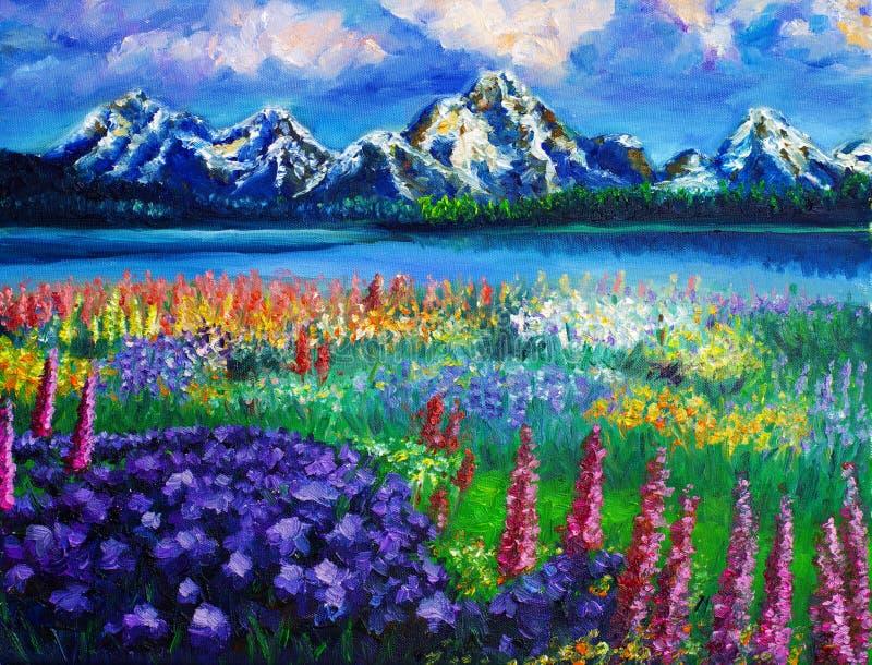 krajobrazowy obraz olejny ilustracja wektor