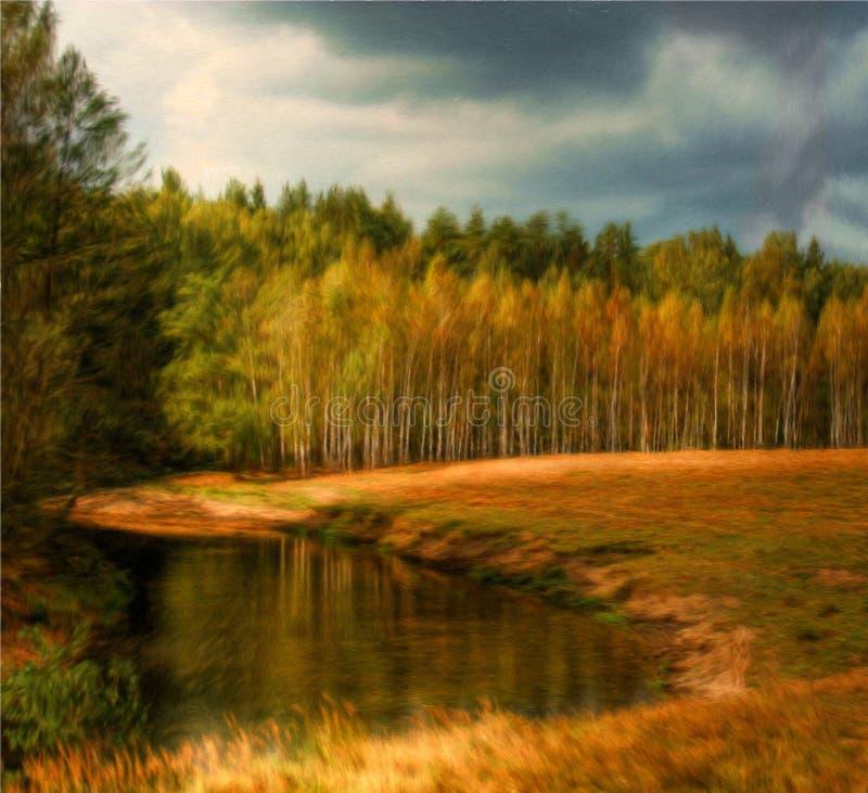 krajobrazowy olej obraz royalty free