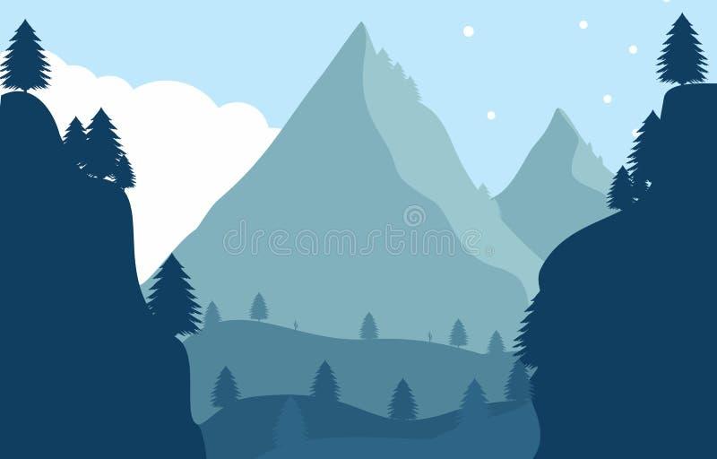 Krajobrazowy Płaski projekta i drzewa tło ilustracja wektor