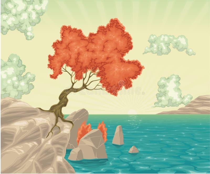 Download Krajobrazowy romantyczny ilustracja wektor. Obraz złożonej z panorama - 18880368