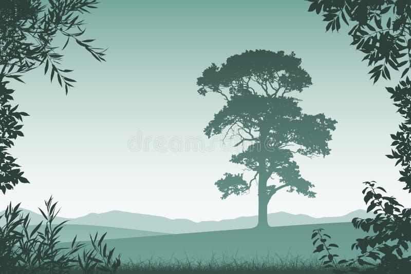 krajobrazowy samotny drzewo ilustracja wektor