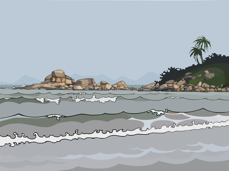 Krajobrazowy szary morze w zwrotnikach ilustracji