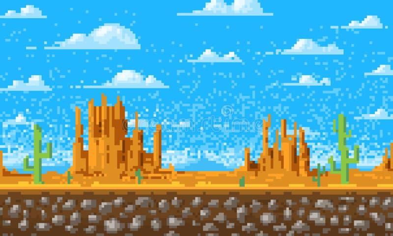 Krajobrazowy tło, piksel sztuka, 8 kawałków rocznika gemowy cyfrowy styl interfejs dla zastosowania lub strony internetowej Chmur ilustracja wektor