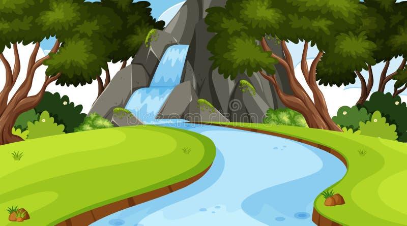Krajobrazowy tło projekt z siklawą w dżungli royalty ilustracja
