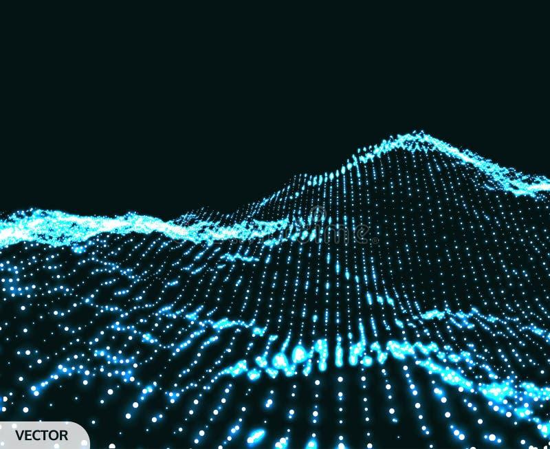 Krajobrazowy t?o 3D Wireframe teren Sie? abstrakta t?o Cyberprzestrzeni siatka Technologia wektoru ilustracja ilustracja wektor