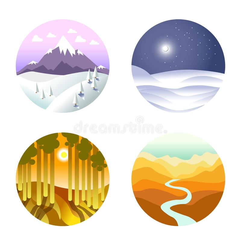 Krajobrazowy wektorowy plakat round ikony z naturą royalty ilustracja