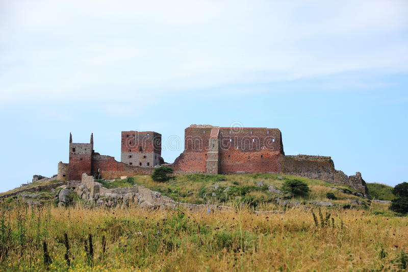 Krajobrazowy widok Hammershus kasztelu ruina obraz royalty free