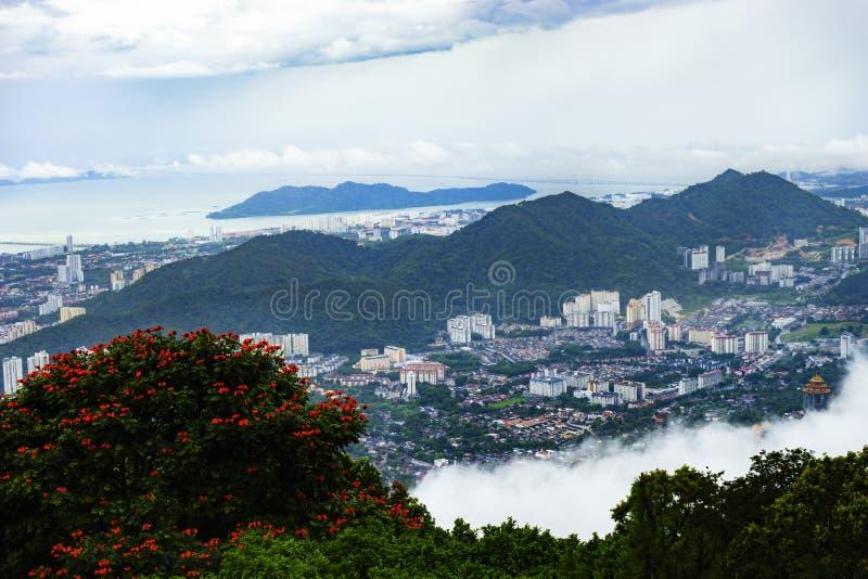 Krajobrazowy widok Penang miasto od, Penang wzgórze, Malezja zdjęcie stock