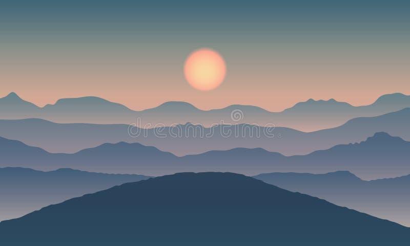 Krajobrazowy widok z słońcem na halnych sylwetkach ilustracji