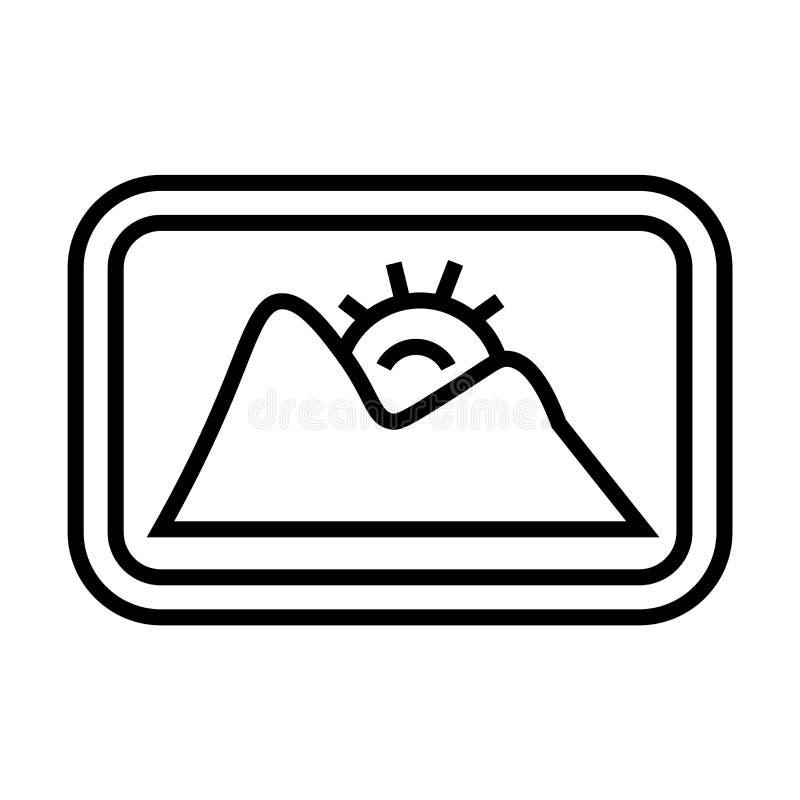Krajobrazowy wizerunek ikony wektoru znak i symbol odizolowywający na białym tle, Krajobrazowy wizerunku logo pojęcie ilustracji