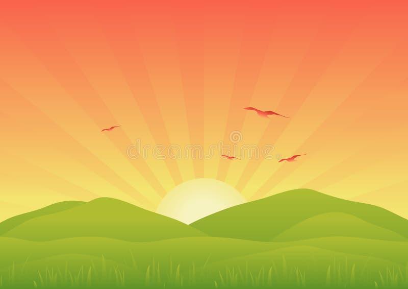 krajobrazowy wschód słońca ilustracja wektor