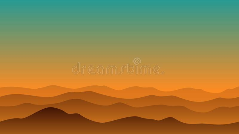 Krajobrazowy wzgórze w wieczór ilustracji