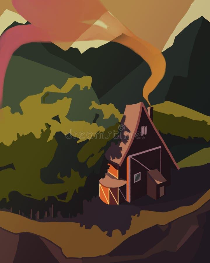 Krajobrazowy zmierzch Dom w lesie górami obraz royalty free