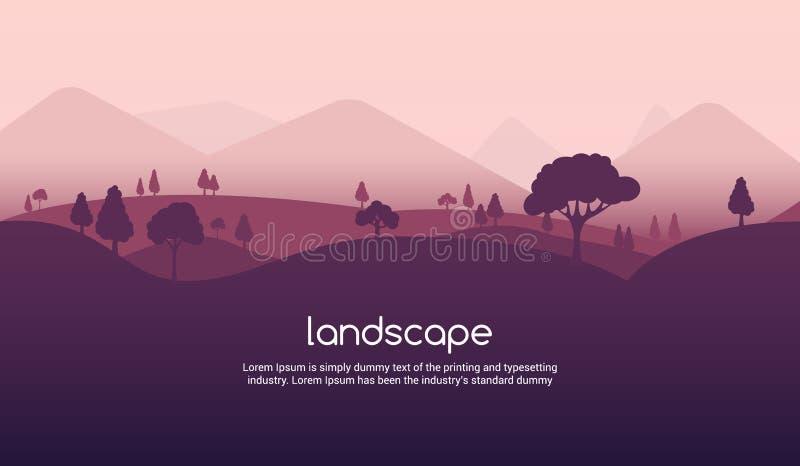Krajobrazowy zmierzchu mieszkania tło Natury niebo, halna scena, lato kreskówki zmierzchu krajobrazu podróży projekt ilustracji