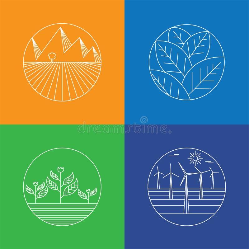 Krajobrazu & natury wektorowe ikony - abstrakcjonistyczni logów szablony, linia & royalty ilustracja