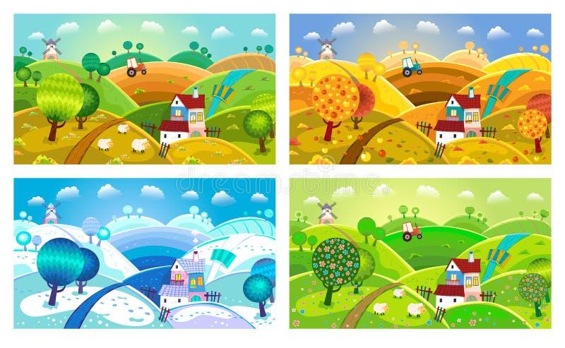 krajobrazu wiejskiego cztery pory roku royalty ilustracja