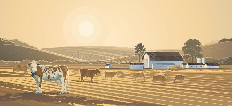krajobrazu wiejskiego Gospodarstwo rolne royalty ilustracja