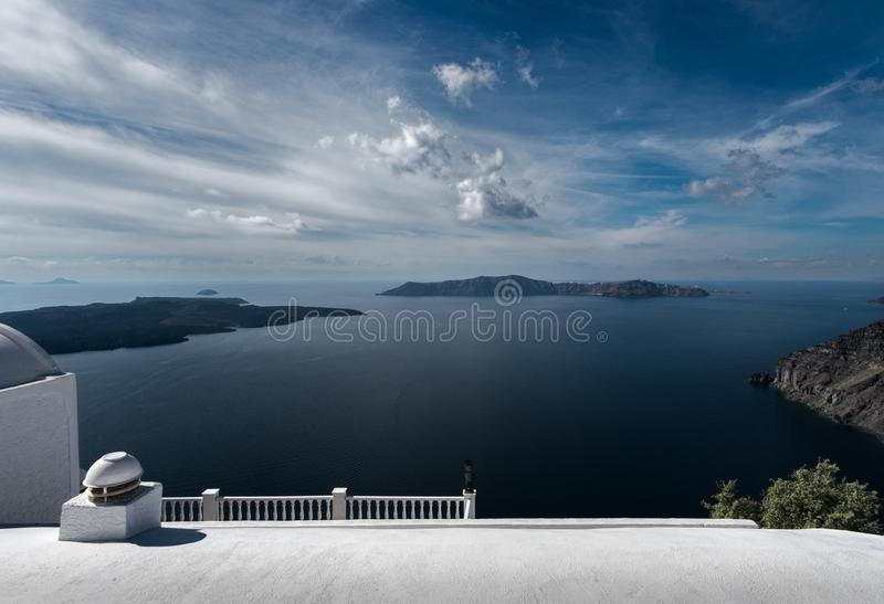 Krajobrazy wyspa Santorini Widok wulkan Grecja obrazy stock