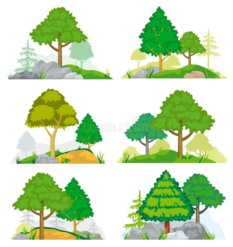 Krajobrazy z drzewami, trawą lub skałami iglastymi i deciduous, kreskówki serc biegunowy setu wektor royalty ilustracja