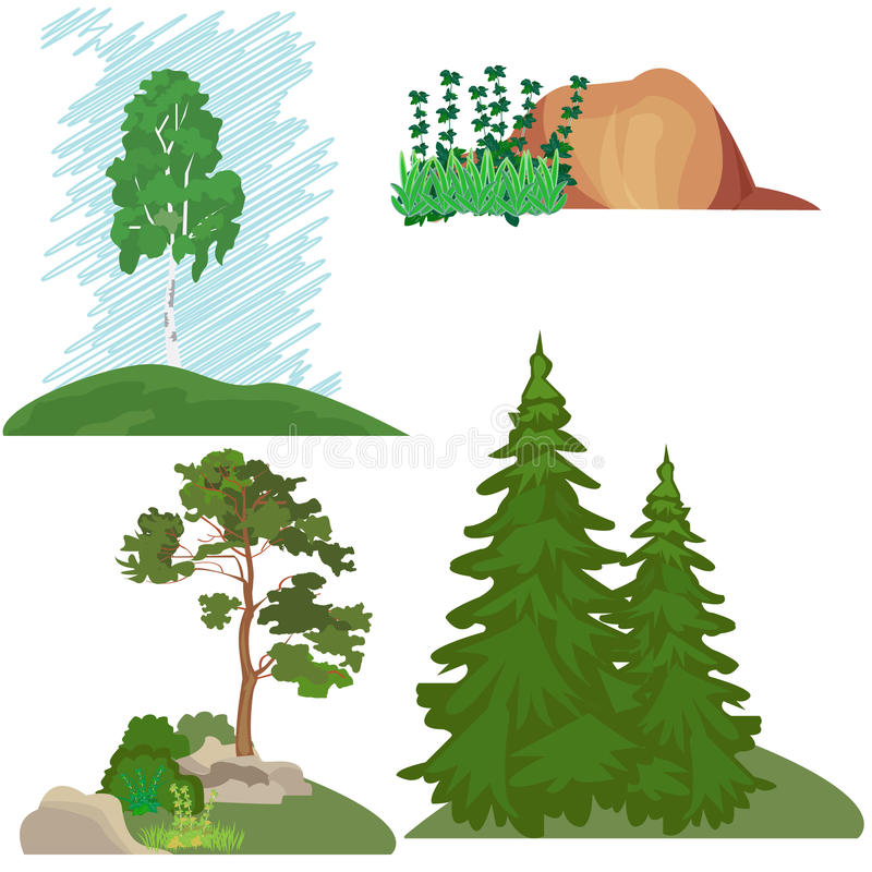 Krajobrazy z drzewami, trawa, kamień Lasu krajobraz, set el ilustracja wektor