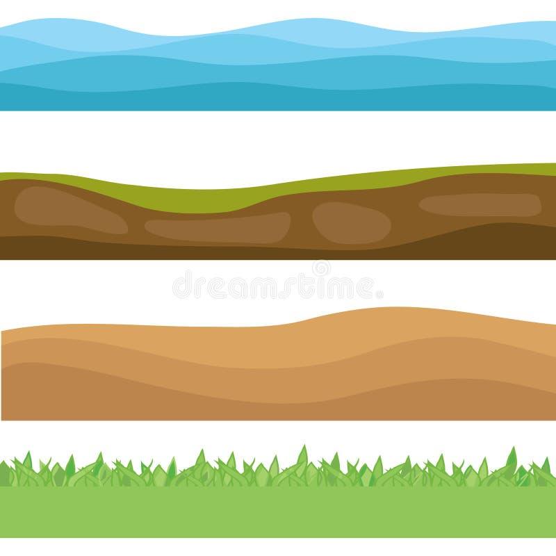 Krajobrazy ziemia Morze ziemia pustynia zielona łąka Set realistyczni krajobrazy royalty ilustracja