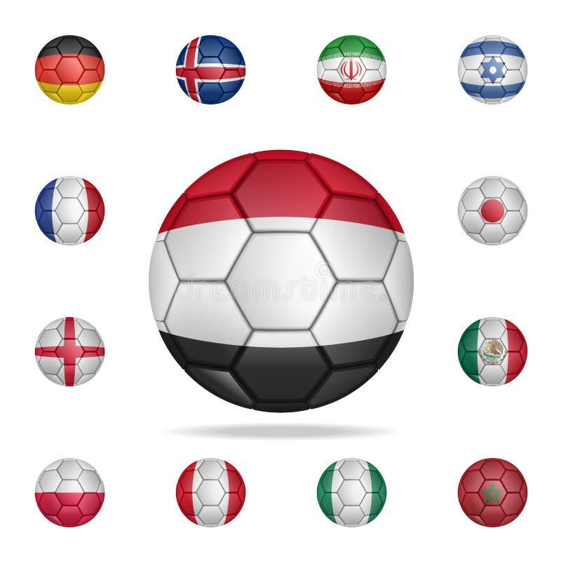Krajowa futbolowa piłka Egipt Szczegółowy set krajowe piłek nożnych piłki Premia graficzny projekt Jeden inkasowe ikony dla ilustracji