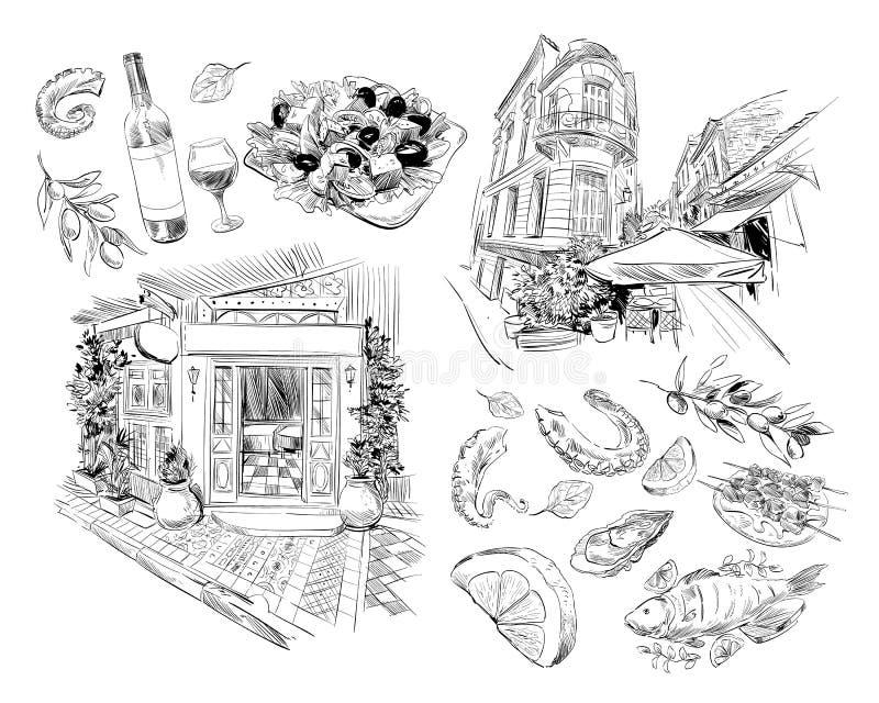 Krajowa Grecka kuchnia Kawiarnia, restauracja Ręka rysujący wektorowy nakreślenie Projekta jedzenia ilustracja athens Grecja ilustracji