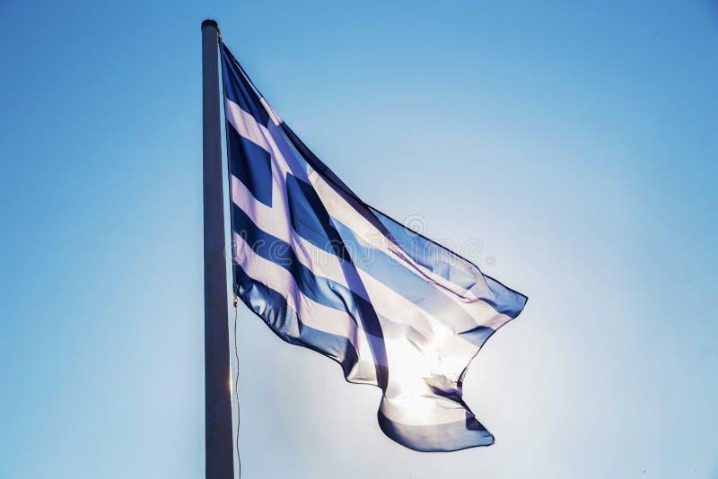 Krajowa grek flaga na wyspie Spetses fotografia royalty free