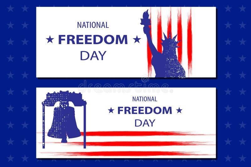 Krajowa wolność dnia ilustracja z statuą Libertyll i swoboda dzwon Plakat lub sztandaru szablon - Luty 1st ilustracji