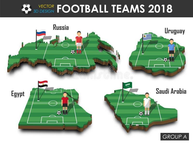 Krajowe piłek nożnych drużyny 2018 grupują A Gracz futbolu i flaga na 3d projekta kraju mapie Odosobniony tło Wektor dla internat royalty ilustracja