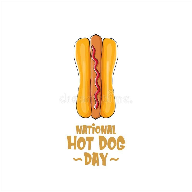 Krajowy hot dog dnia plakat z śmiesznym kreskówki hot dog Hot dog dnia druk dla trójnika odizolowywającego na białym tle lub etyk ilustracja wektor