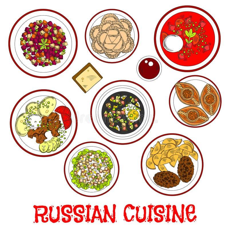 Krajowy jedzenie i napoje rosyjska kuchnia kreślimy ilustracja wektor
