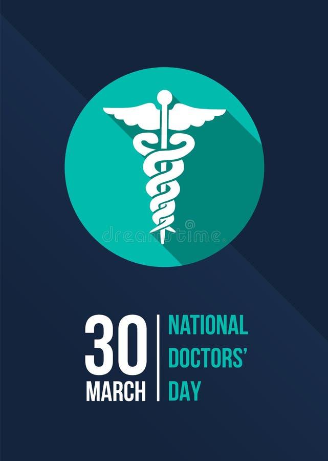 Krajowy lekarki ` dzień z zielenią personel hermes w okręgu znaku na zmroku - błękitnego tło sztandaru wektorowy projekt ilustracja wektor