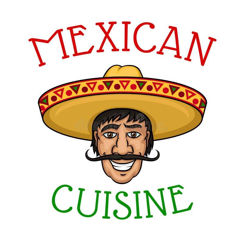 Krajowy meksykański kuchnia szef kuchni w sombrero ilustracji