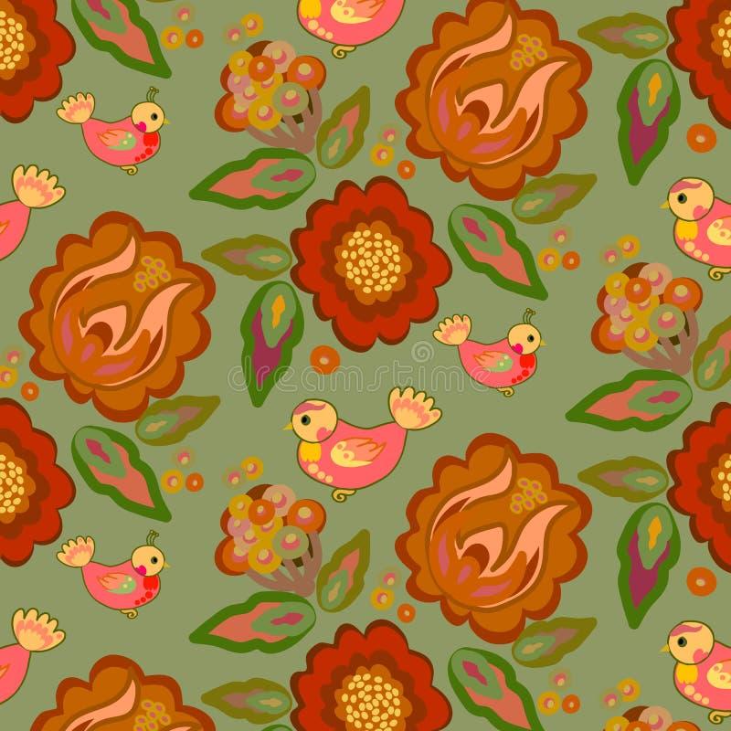 Krajowy ornamentu wzór z kwiatami i ptakami ilustracji