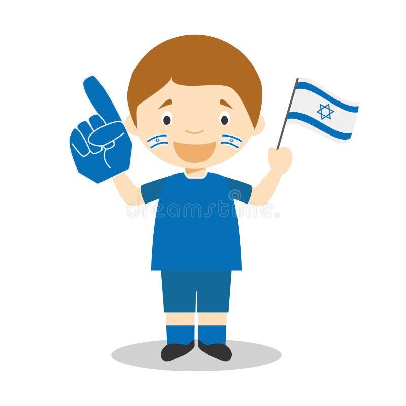 Krajowy sport drużyny fan od Izrael z chorągwianą i rękawiczkową Wektorową ilustracją ilustracji