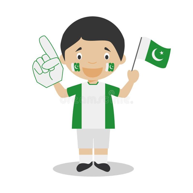 Krajowy sport drużyny fan od Pakistan z chorągwianą i rękawiczkową Wektorową ilustracją royalty ilustracja