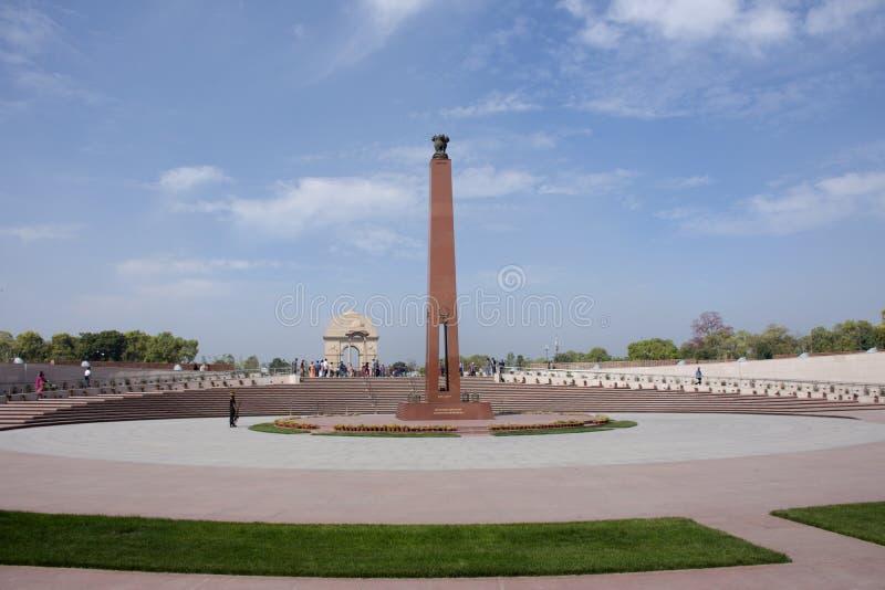 Krajowy Wojenny pomnik India dzwonił Amar Chakra lub okrąg nieśmiertelność w New Delhi, India obrazy royalty free