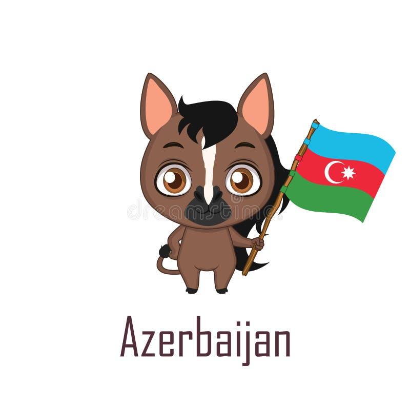 Krajowy zwierzęcy koń trzyma flaga Azerbejdżan ilustracji