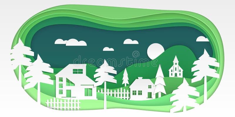 Kraju krajobraz - nowożytnego wektoru papieru rżnięta ilustracja royalty ilustracja