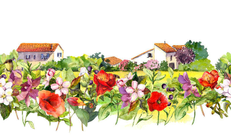 Kraju krajobraz z łąkowymi kwiatami, trawa, ziele Akwareli kwiecista granica - idylliczna wiejska dom scena _ obraz stock